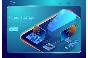 Cloud data storage. Vector web page