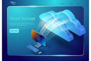 Cloud storage web page template