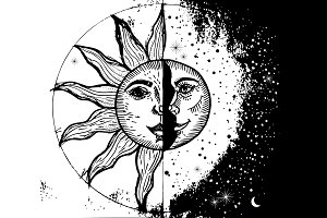 Sun and moon. style engraving