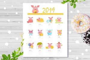 Calendar 2019 pig