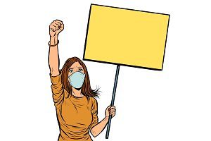 woman in medical mask protests with