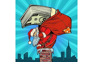 Money cash dollars. Santa Claus with