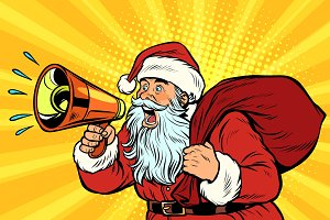 pop art Santa Claus with megaphone