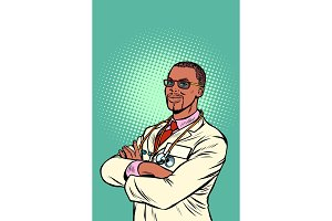 Confident African doctor. Medical