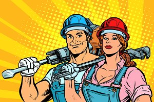 strong workers, man and woman. labor