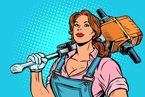 woman road worker Builder with