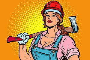 Pop art woman lumberjack with axe