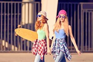 Girl Having Fun with skateboard