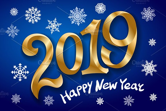 happy new year 2019 greeting card graphics