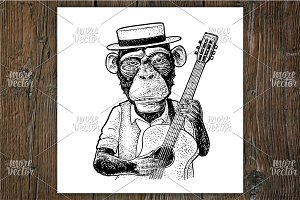 Monkey in hat, shirt hold guitar