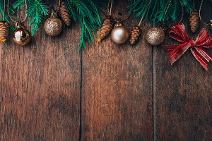 christmas on wood background
