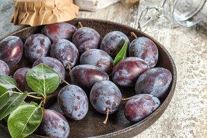 Plums Food Fruits Jam marmalade wood