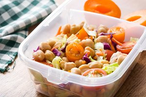 Lunch box with chickpea salad