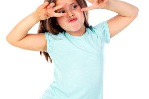 Funny small girl posing like a fashi