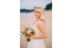 portrait of young bride on tropical