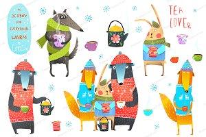 Winter Forest Animals Drinking Tea