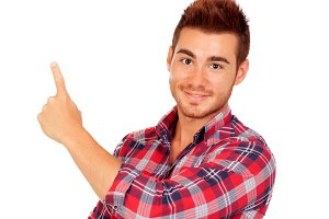 Attractive guy pointing something wi