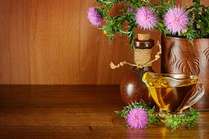 Flowering plant milk thistle and oil