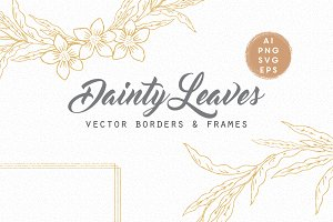 Vector dainty leaf wreaths/frames