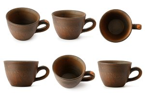 Set of ceramic cups with different c
