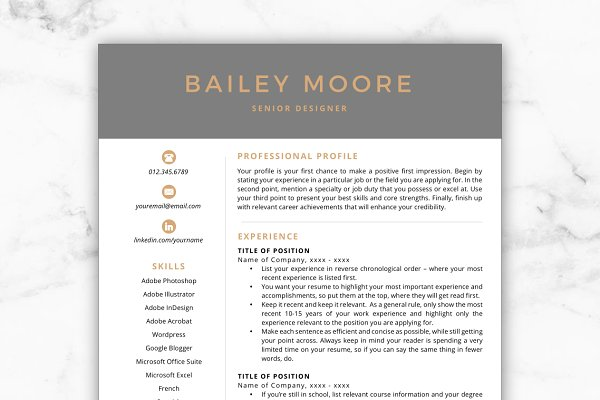 Resume Templates: Resume Template Studio - CV Template/Resume - Bailey