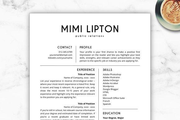 resume template cv mimi resume templates creative market