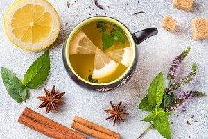 Cup of tea, mint and lemon