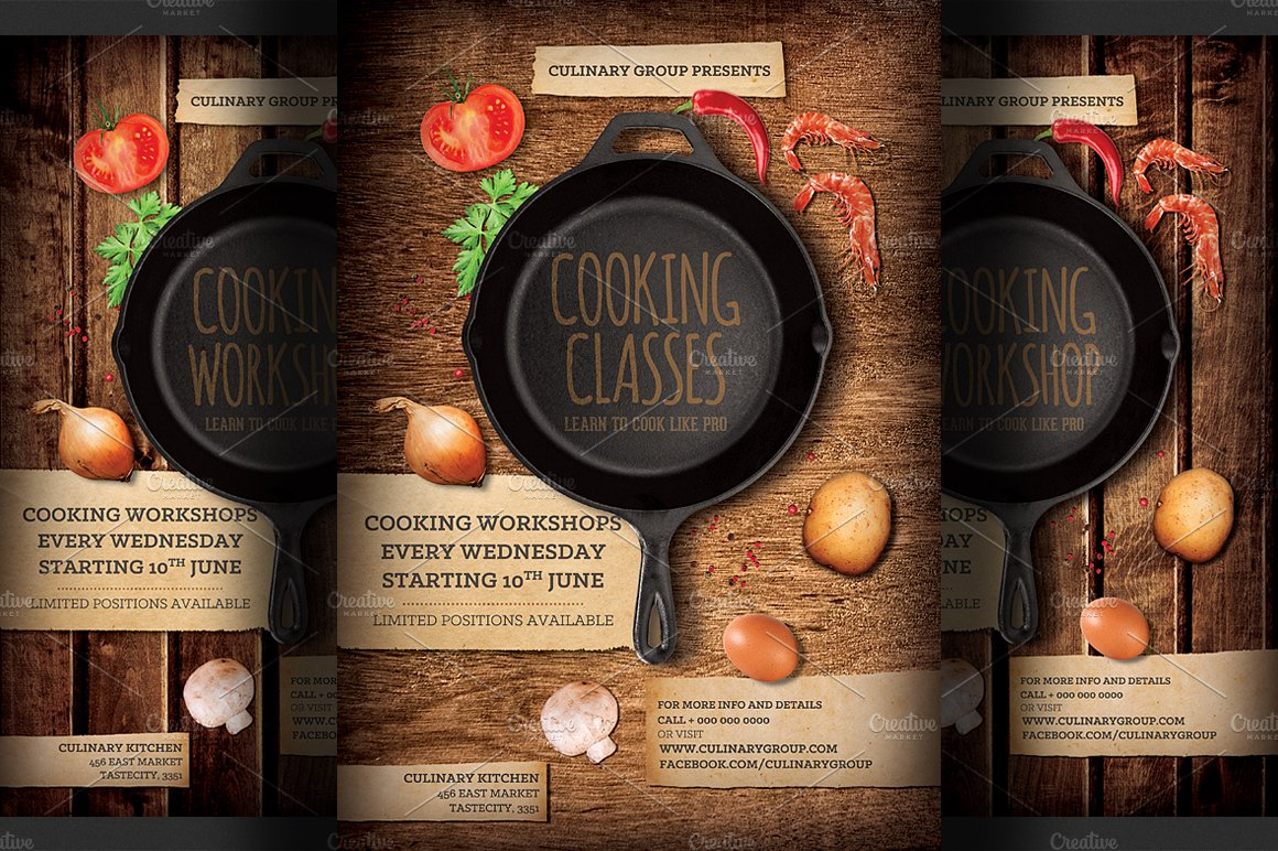 Cooking Lessons Flyer Template Templates Creative Market