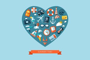 Travel Heart Composition Postcard