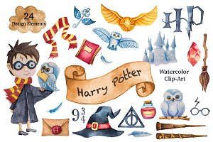 Harry Potter Watercolor Clip-Art