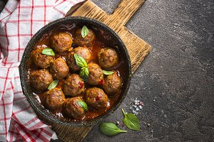 Meatballs in tomato sauce in a