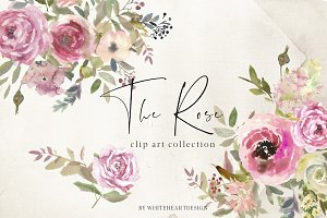 The Rose Watercolor Floral Clipart