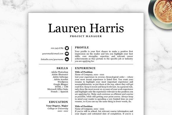 cv template resume lauren resume templates creative market
