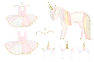 Unicorn Tutu Birthday Clip Art