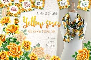 Yellow Roses PNG watercolor set