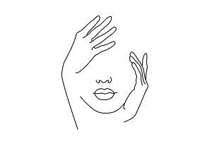 Line Drawing Art. Woman face with