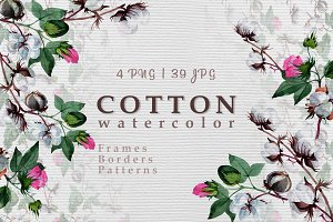 Cool cotton PNG watercolor set
