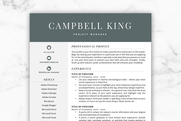 cv template resume campbell resume templates creative market