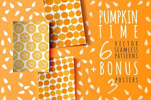 6 patterns with pumpkins + 3 posters