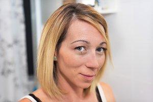 Blonde woman make up