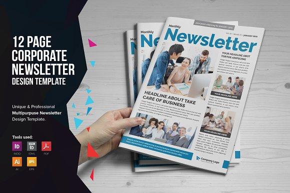 Newsletter Design V2 Brochure Templates Creative Market