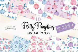 Pumpkin Watercolor Patterns Pink