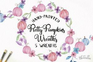 Pumpkin Pastel Fall Wreaths Painted