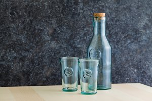 glassware and bottle glassware and b
