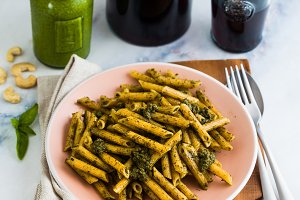 wholemeal pasta with basil pesto in