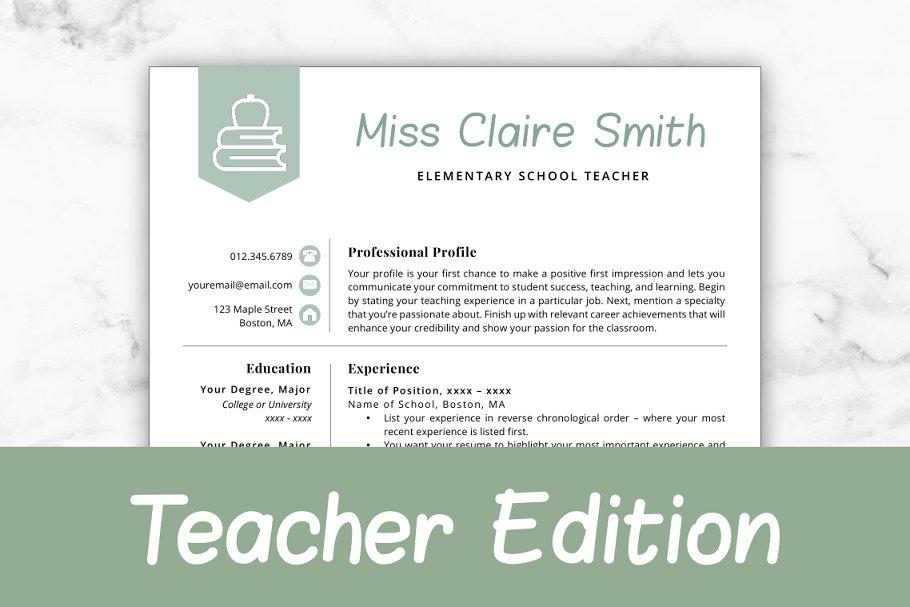 Teacher Resume Template - Claire ~ Resume Templates ...