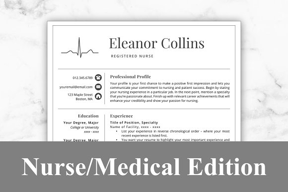 Nurse Resume Template - Eleanor ~ Resume Templates ~ Creative Market