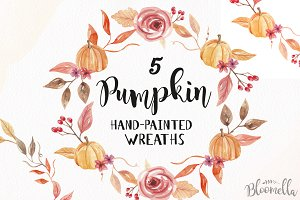 Pumpkin Wreaths Watercolor Fall