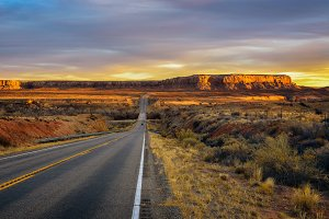 Sunset over an empty road in Utah