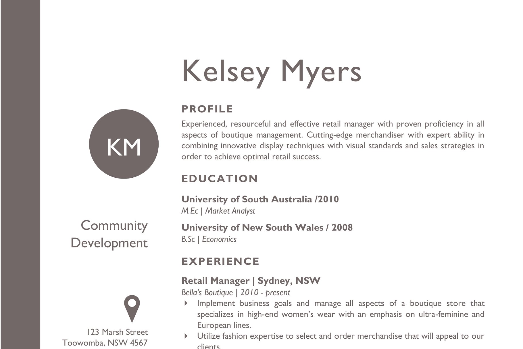 Two columns round initials resume - Resume Templates | Creative ...